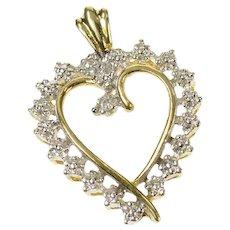 10K Diamond Inset Curvy Wavy Heart Love Pendant Yellow Gold [CQXS]