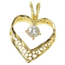 14K Diamond Filigree Heart Love Symbol Pendant Yellow Gold [CQXS]