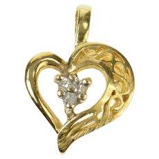14K Diamond Classic Heart Love Symbol Filigree Pendant Yellow Gold [CQXS]