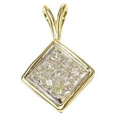 14K Square Diamond Cluster Statement Pendant Yellow Gold [CQXR]