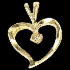 14K Diamond Inset Curvy Heart Classic Love Pendant Yellow Gold [CQXS]