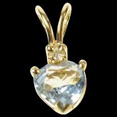 14K Pear Blue Topaz Diamond Accent Heart Pendant Yellow Gold [CQXS]