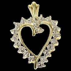 10K Classic Diamond Accent Two Tone Heart Pendant Yellow Gold [CQXS]