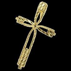 14K Cross Christian Faith Symbol Grooved Pendant Yellow Gold [CQXS]