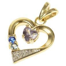 10K Diamond Amethyst Blue Topaz Heart Pendant Yellow Gold [CQQX]