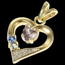 10K Diamond Amethyst Blue Topaz Heart Pendant Yellow Gold [CQXS]