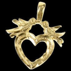 14K Diamond Cut Heart Love Bird Romantic Charm/Pendant Yellow Gold [CQXS]