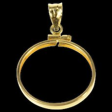 14K 20.9mm Grooved Coin Holder Bezel Pendant Yellow Gold [CQXS]