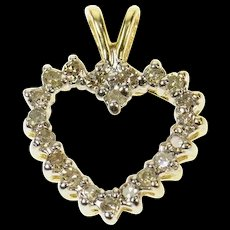10K 0.30 Ctw Diamond Classic Heart Love Pendant Yellow Gold [CQXS]