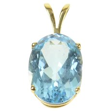 14K Oval Blue Topaz Solitaire Statement Classic Pendant Yellow Gold [CQQX]