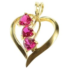 10K Heart Syn. Ruby Cluster Love Symbol Pendant Yellow Gold [CQQX]