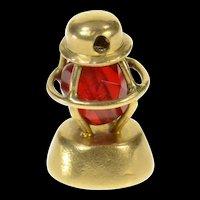 14K 3D Ornate Sim. Garnet Lantern Lamp Charm/Pendant Yellow Gold [CQXS]
