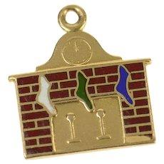 14K Enamel Holiday Chimney Stocking Christmas Charm/Pendant Yellow Gold [CQXS]