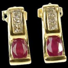 14K Oval Ruby Diamond Accent Stud Earrings Yellow Gold [CQXS]