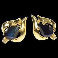 14K Pear Sapphire Diamond Accent Classic Stud Earrings Yellow Gold [CQXS]