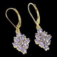 14K Ornate Syn. Tanzanite Cluster Dangle Earrings Yellow Gold [CQXS]