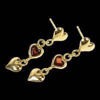 14K Dangle Heart Sim. Garnet Love Symbol Earrings Yellow Gold [CQXS]