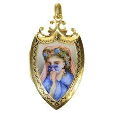 14K Victorian Masked Lady Enamel Diamond Locket Pendant Yellow Gold [CQXS]