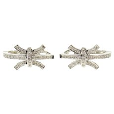 18K 0.68 Ctw Diamond Curved Bar Cluster Hoop Earrings White Gold [CQQX]