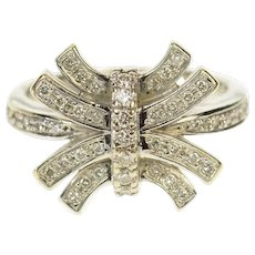 18K 0.37 Ctw Diamond Curved Bar Cluster Ring Size 8 White Gold [CQQX]
