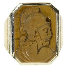 10K Art Deco Carved Tiger's Eye Soldier Cameo Ring Size 8 White Gold [CQQX]