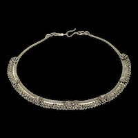 "Sterling Silver Ornate Tibetan Fringe Statement Collar Necklace 15.75""  [CQXP]"