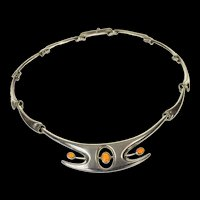 """Sterling Silver Ornate Mexican Fire Opal Statement Necklace 15.75""""  [CQXP]"""