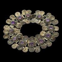 "Sterling Ornate Taxco Amethyst Swirl Link Mexican Bracelet 7.5""  [CQXP]"