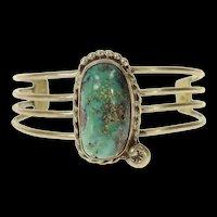 "Sterling Native American Turquoise Ornate Cuff Bracelet 6.25""  [CQXP]"