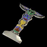 Sterling Hawaiian Tiki Enamel Ornate Tower Pin/Brooch  [CQXP]