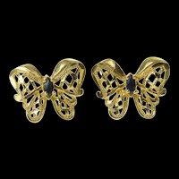 10K Sapphire Ornate Filigree Butterfly Stud Earrings Yellow Gold [CQXP]