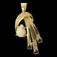 14K Pear Opal Sapphire Retro Ornate Pendant Yellow Gold [CQXP]