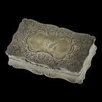 Sterling Silver Victorian Canadian Scrollwork Pill Trinket Box   [CQXP]