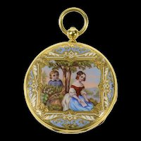 Ornate Victorian Painted Enamel Elaborate Pocket Watch [CQXP]