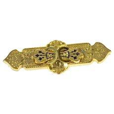 14K Victorian Black Enamel Mourning Bar Pin/Brooch Yellow Gold [CQXP]