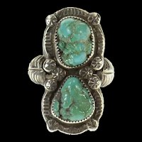 Sterling Silver EJ Native American Turquoise Ornate Navajo Ring Size 6.75  [CQXP]
