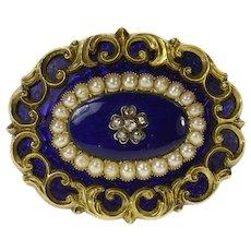 14K Victorian Blue Enamel Diamond Pearl Mourning Pin/Brooch Yellow Gold [CQXW]