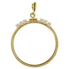 14K 0.54 Ctw Diamond Rope 33.4mm Coin Bezel Pendant Yellow Gold [CQXW]