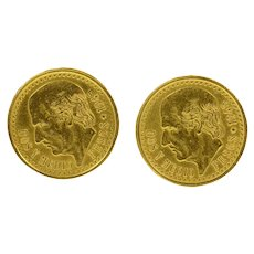 14K 1945 Dos Y Medio 2.50 Pesos Mexican Coin Cuff Links Yellow Gold [CQXW]
