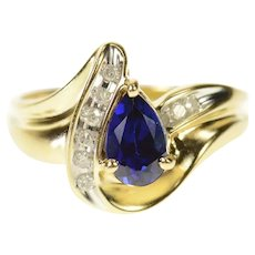 10K Pear Synthetic Sapphire Diamond Statement Ring Size 8 Yellow Gold [CQXW]