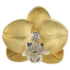 14K Denny Wong Diamond Orchid Flower Pendant Yellow Gold [CQXW]