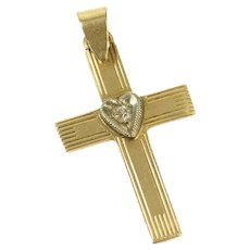 14K Classic Retro Diamond Pinstriped Cross Pendant Yellow Gold [CQXW]