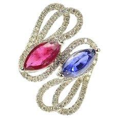 18K Ctw Ruby Sapphire Diamond Bypass Ring Size 7.25 White Gold [CQXR]