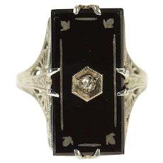 14K Art Deco Black Onyx Diamond Filigree Mourning Ring Size 6 White Gold [CQXR]