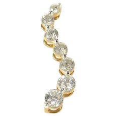 14K 0.93 Ctw Graduated Diamond Wave Journey Pendant Yellow Gold [CQXR]