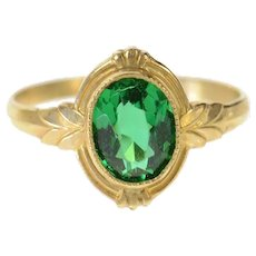 10K Oval Syn. Emerald Ornate Retro Statement Ring Size 4.75 Yellow Gold [CQQX]