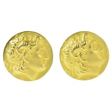 18K Ancient Greek Coin Tribute Ornate Cuff Links Yellow Gold [CQQX]