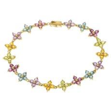 "14K Amethyst Topaz Peridot Flower Tennis Bracelet 7.5"" Yellow Gold [CQQX]"