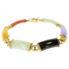 """14K Carved Multi Colored Jade Chinese Character Bracelet 8"""" Yellow Gold [CQQX]"""