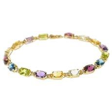 "14K Rainbow Diamond Accent Flower Link Tennis Bracelet 7.25"" Yellow Gold [CQQX]"